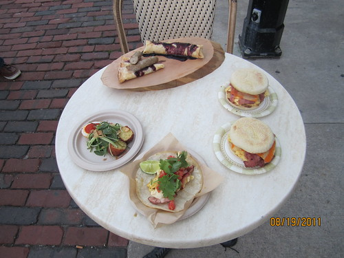 The Distillery District - Food Truck East - here are some meals on a table