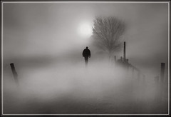 Out of the mists (adrians_art) Tags: trees winter people mist monochrome silhouette fog sunrise
