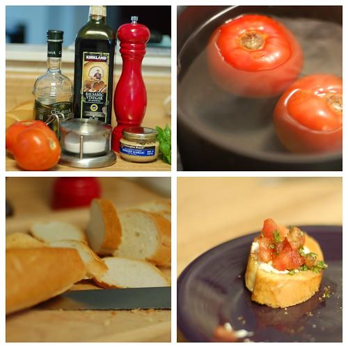 Bruschetta, fresh MO tomatoes and backyard basil