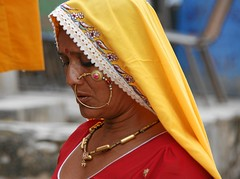 To be a woman in India (io747) Tags: portrait woman india colour yellow piercing rajasthan