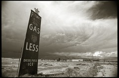 Premium Oil Co. (efo) Tags: bw sign utah gasstation om4 zuiko21mmf35 bwfp