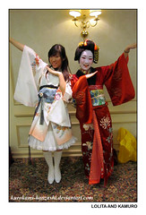 Lolita and Kamuro (Kurokami) Tags: ladies girls woman toronto ontario canada girl japan modern lady asian japanese women asia traditional lolita kimono fusion attendant apprentice kitsuke oiran waloli tayuu kamuro couresan