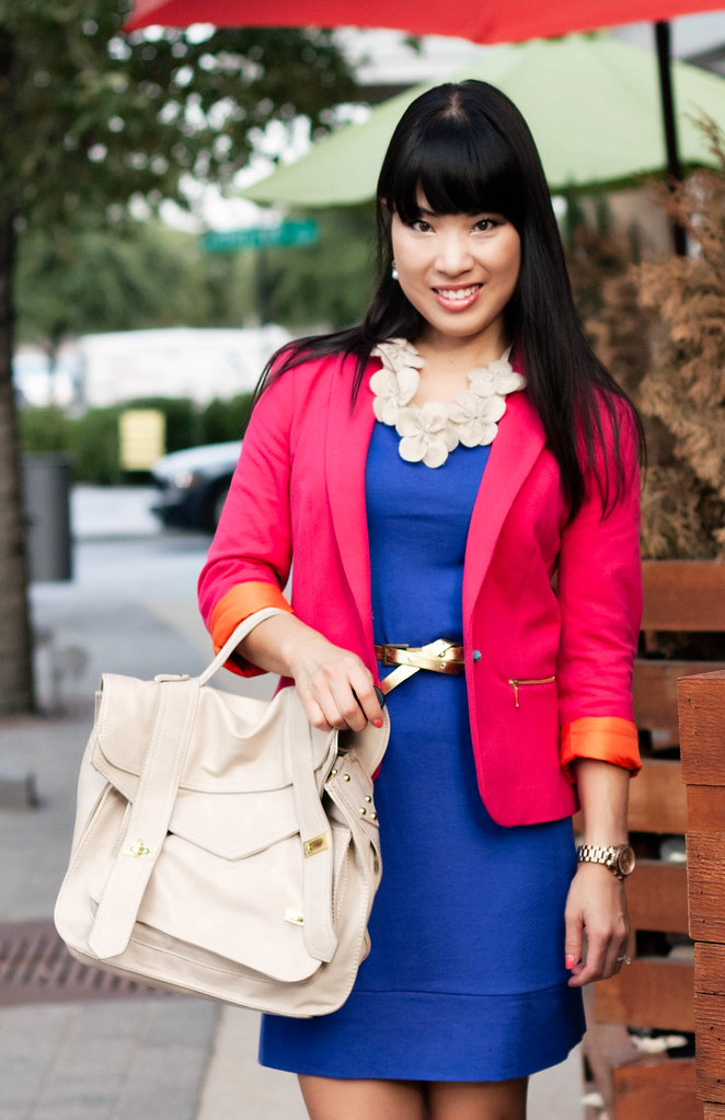 zara hot pink blazer, gap blue jersey dress, sole society marco santi dash nude pumps, charlotte russe gold skinny belt, mk5430, handbag heaven vieta veronique buckle satchel, little fluff stuff flower statement necklace