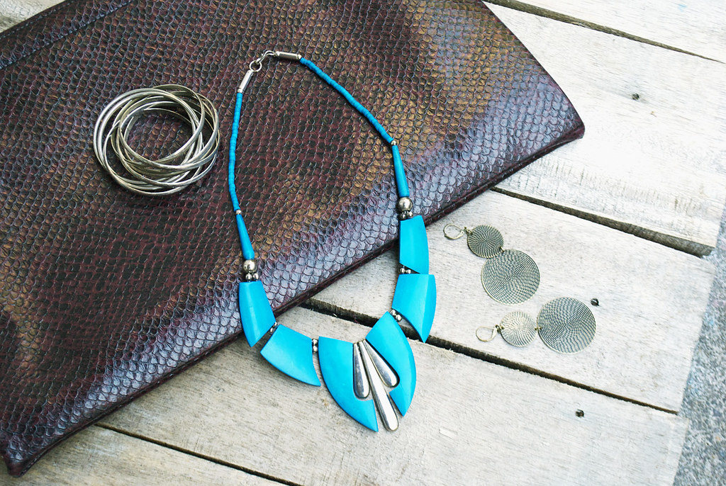 (faux) Snakeskin Oversized Clutch / Portfolio - Vintage Turquoise Necklace - Tierred Circle Earrings Target