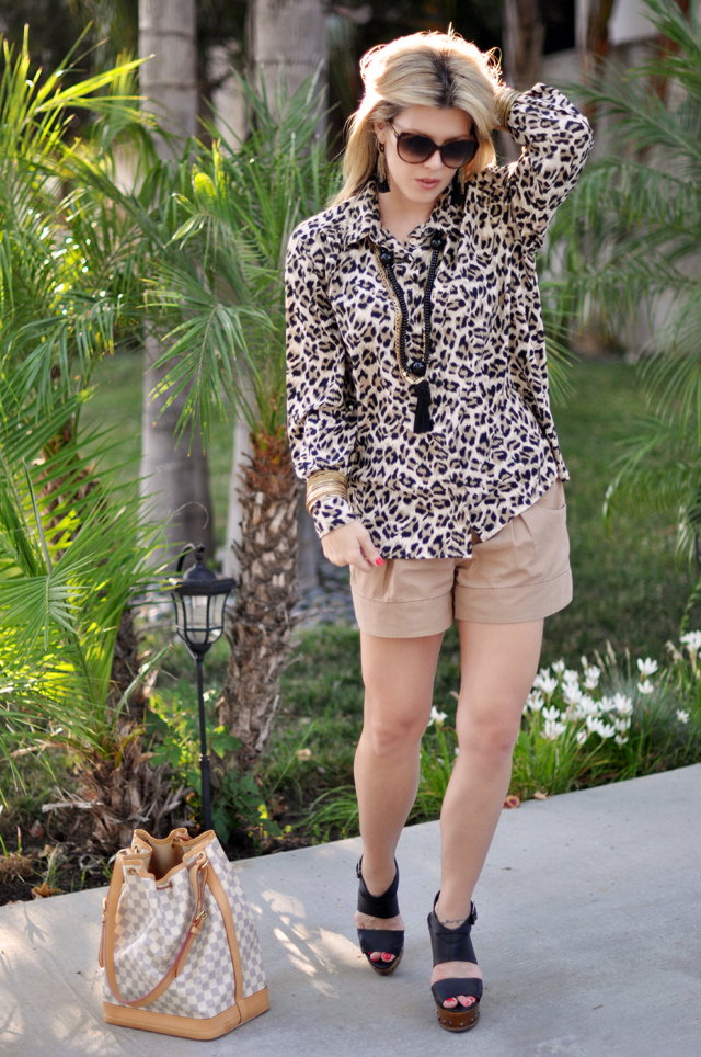 leopard blouse and   shorts with tassels