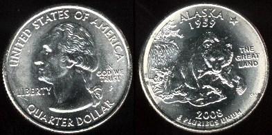 25 Centov USA - State Quarter 2008 - Aljaška