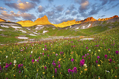 Wildflowers @ Upper Ice Lake Basin - Silverton, Colorado (Lightvision []) Tags: morning travel flowers camping sunset summer vacation sky mountains green tourism nature beautiful field grass rose clouds forest sunrise canon dawn spring high san colorado glow juan natural blossom dusk silverton hiking vibrant seasonal meadow conservation peak fresh national backpacking co bloom environment telluride wildflowers wilderness peaks paintbrush 1740mm tranquil vermilion alpenglow ophir ouray feisol lightvision willshieh