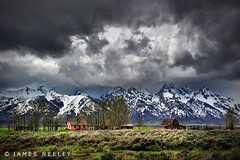 Moulton Homestead Under Stormy Skies (James Neeley) Tags: landscape tetons hdr grandtetonnationalpark gtnp mormonrow 5xp moultonbarn jamesneeley
