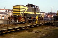 7365  Kinkempois  29.10.83 (w. + h. brutzer) Tags: analog train nikon eisenbahn railway zug trains locomotive 77 belgien lokomotive diesellok eisenbahnen sncb dieselloks webru