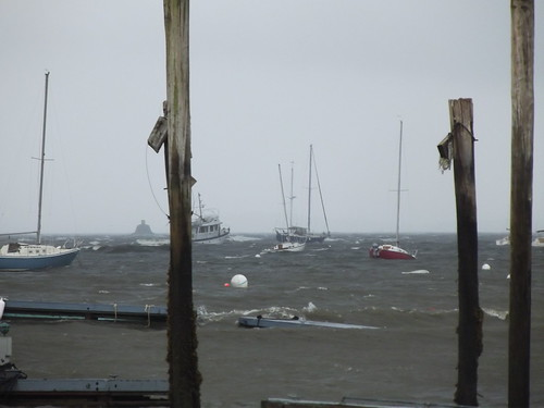 boats in Belfast during Irene storm