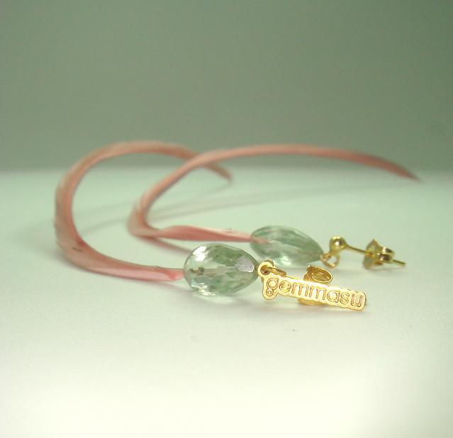 pendientes de amatista verde y pluma (3)