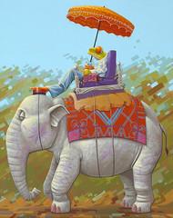 Olifantenrit (roodogigeboomkikker) Tags: india elephant art nature illustration painting jasper acrylic ride surrealism paintings frog exposition parasol frogs illustrator elephants groningen treefrog figurative treefrogs realism redeyed agalychnis oostland callidryas