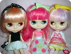 Pink-Toned and Bows (blippium) Tags: pink hair dolls blythe bows ih mlc stsa ichigoheaven mylittlecandy stellasavannah robsioux