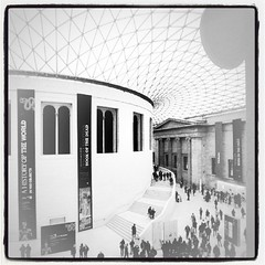 British Museum Great Hall (Ayano0710) Tags: blackandwhite london museum architecture square hall squareformat britishmuseum greathall lomofi iphoneography instagramapp uploaded:by=instagram foursquare:venue=4ac518d2f964a5203da720e3