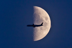 Waxing Crescent Moon (AdrianJScott) Tags: moon crescent waxing airtraffic occultation