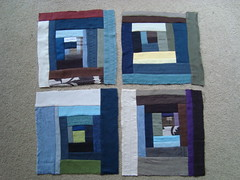Multi-Housetop Blocks 1 - 4 (thriftomancer) Tags: modern quilt linen logcabin quilting patchwork wonky improvised repurposed housetop geesbend stashbusting
