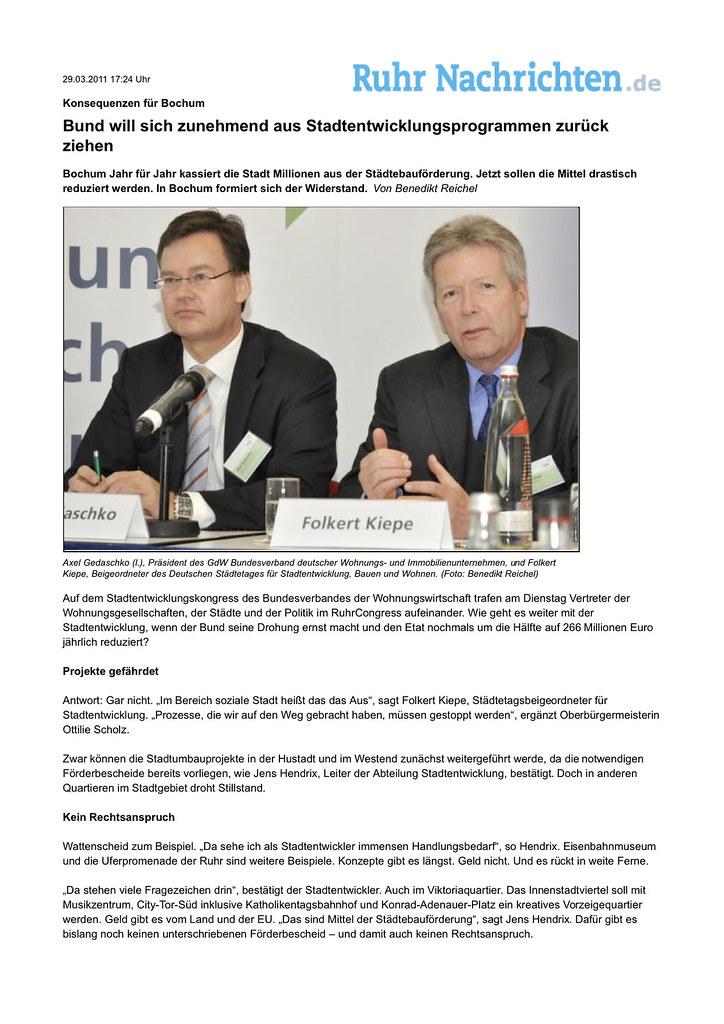 Konsequenzen für Bochum_ Bund will sich zunehmend aus Stadtentwicklungsprogrammen zurück ziehen -  Ruhr Nachrichten