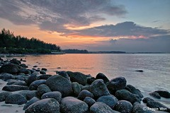 The beach of Dinasour eggs. (Reggie Wan) Tags: sunset seascape singapore asia southeastasia rockybeach punggolbeach reggiewan sonya850 sonyalpha850 gettyimagessingaporeq1