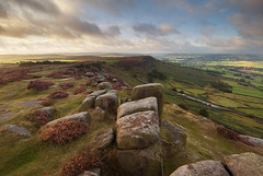 Breaking Light Over Baslow (andy_AHG) Tags: morning summer rural sunrise outdoors rocks derwentvalley derbyshire peakdistrict scenic moors pennines britishcountryside northernengland landscapephotography beautifullandscapes curbaredge