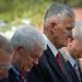 Former Chairman of the Joint Chiefs of Staff General Hugh Shelton bows his head during the prayer.