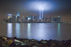 September 11, 2011: The 2011 Tribute in Lights as seen from Liberty State Park (RBudhu) Tags: nyc newyorkcity ny newyork worldtradecenter 911 september112001 twintowers gothamist neverforget groundzero newyorknewyork lowermanhattan tributeinlight 7wtc 911memorial 7worldtradecenter freedomtower sevenworldtradecenter 9112010