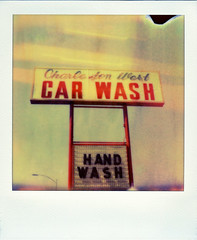 Charleston West Car Wash (Nick Leonard) Tags: city vegas blue red white film sign analog polaroid sx70 words lasvegas nevada nick scan carwash lightleaks signage font lettering landcamera polaroidsx70 handwash instantfilm epson4490 firstflush colorshade integralfilm nickleonard polaroidsx70model2 charlestonblvd theimpossibleproject px680 px680ff charlestonwestcarwash poorshielding