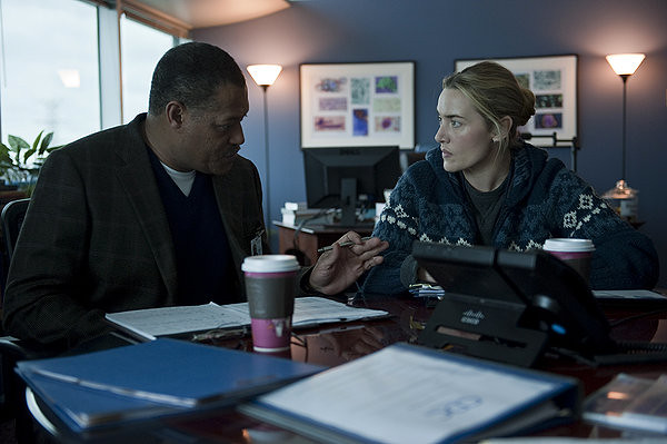 Laurence Fishburne as Dr. Ellis Cheever and Kate Winslet as Dr. Erin Mears