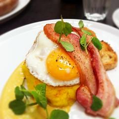 Bubble and squeak breakfast at Hobba (ultrakml) Tags: cameraphone food bacon toast egg australia melbourne victoria bubble fried squeak prahran iphone iphone4 hobba iphoneography cameraplus