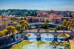 (Sienar) Tags: city trip travel bridge trees vacation sky italy rome color fall water architecture 35mm buildings river landscape photography nikon colorful europe cityscape horizon sharp eurotrip nikkor hdr highdynamicrange goodtimes d300 2011 18 18 chrisacua chrisacua