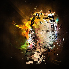 Headsplosion (ReneGoedhart) Tags: cinema abstract color colour photo 3d head render space manipulation nebula fi effect shatter sci