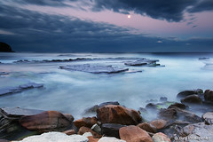 Moonrise over Turimetta Beach (-yury-) Tags: ocean sea moon seascape beach nature water night landscape rocks australia moonrise nsw turimetta