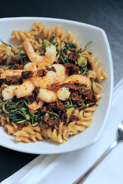Prawns, Zucchini and Sun dried tomatoes Fusilli