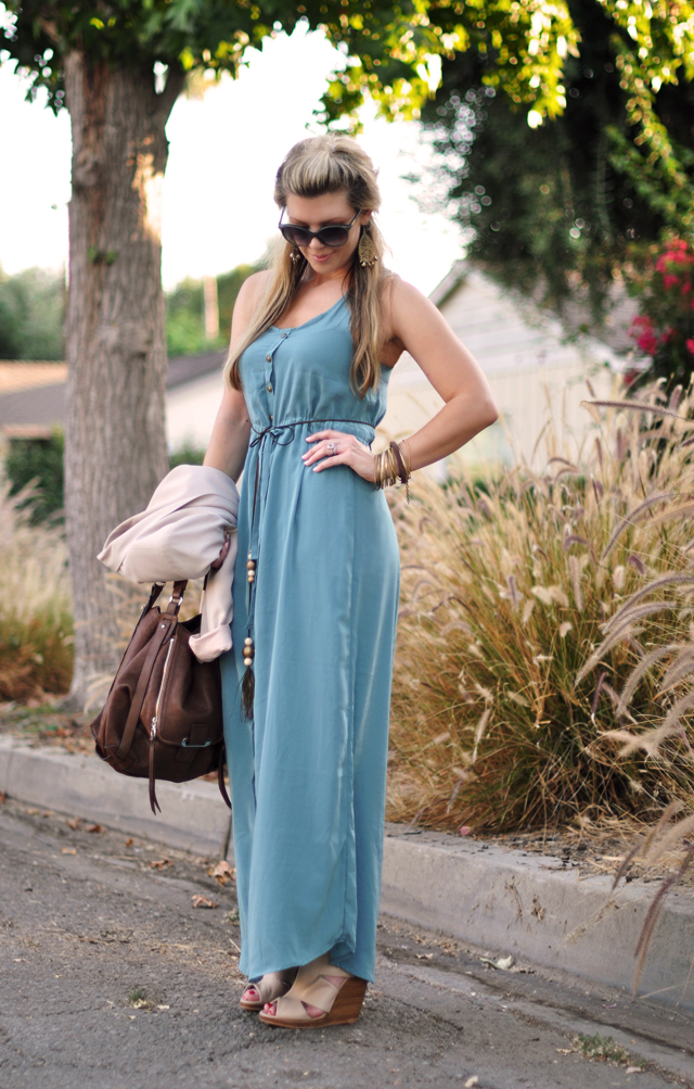 button down maxi with  kooba bag   and nude wedges