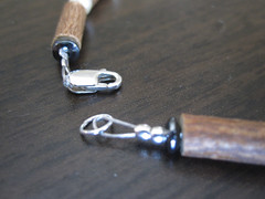 Lobster claw on hazelwood necklace