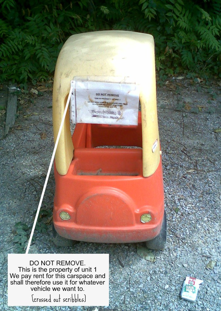 DO NOT REMOVE. This is the property of unit 1. We pay rent for this carspace and shall therefore use it for whatever vehicle we want to. [crossed out scribbles]