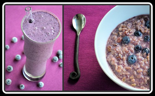 Blueberry Smoothie and Oatmeal