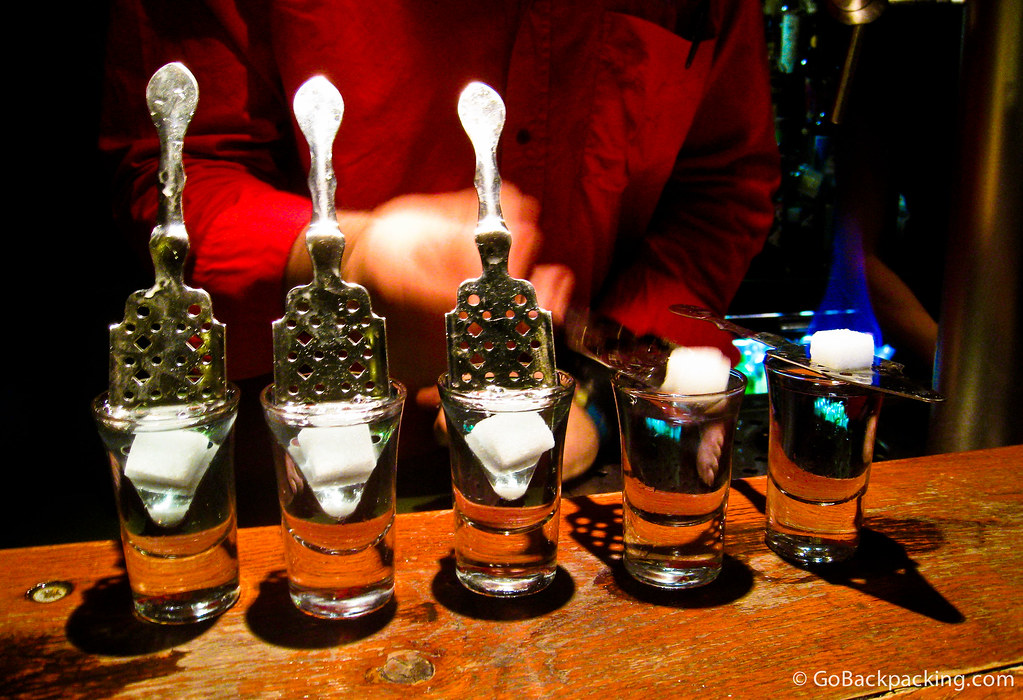 Shots of Absinthe on Christmas night in Brussels