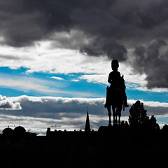 Royal Scots Greys monument in silhouette (Explored) (Jase-18) Tags: monument silhouette statue clouds canon scotland edinburgh princesstreet squareformat bsquare royalscotsgreys ef50mm18ii eos550d rebelt2i kissx4digital