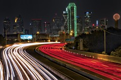 Dallas Skyline (Matt Pasant) Tags: city longexposure light red summer usa white green cars skyline night canon dallas neon texas tx august dallasfortworth oakcliff bankofamerica dfw dallascowboys lighttrails bigd thegrid reuniontower jrewing velbon cartrails canoneos7d tamron18270 notthesafestpartoftown