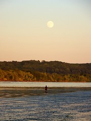 Fishing by Moonrise (hickamorehackamore) Tags: statepark summer sky moon water reflections river evening fisherman connecticut meadows ct august fullmoon clear moonrise ctriver connecticutriver haddam haddammeadows
