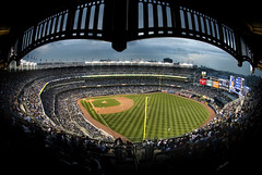 New Yankee Stadium Rightfield Fisheye With Arches (Greg - AdventuresofaGoodMan.com) Tags: park nyc usa sports america baseball stadium arena yankees yankeestadium yanks mlb baseballstadium ballclub
