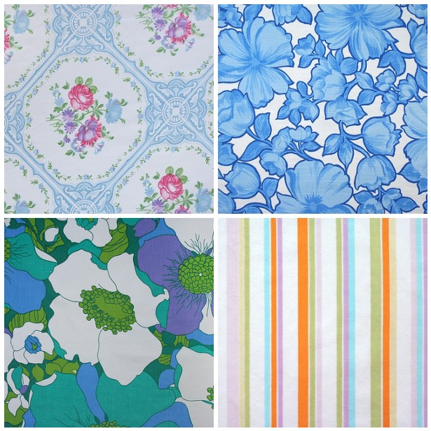 retro floral & stripes: blues, purples, greens, pinks, pastels