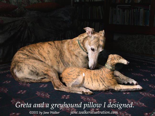 Greta and a greyhound pillow toy.