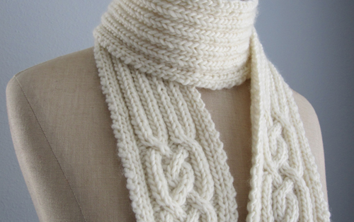 cabled handknit scarf