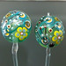 Earring Pair : Aqua Emerald Flower Blossom