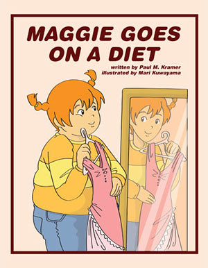 The cover of Maggie Goes on a Diet shows a fat girl standing in front of a mirror looking at an image of a thinner version of herself. In both images of the girl, she is a white girl with red hair up in pigtails. Wearing a sweatshirt and jeans, she is holding a slim dress up to herself in the mirror.