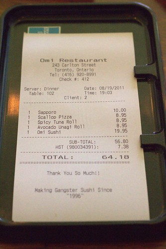 The Bill - Omi Sushi