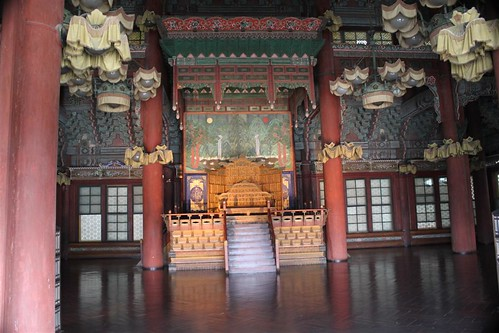 Inside the Injeongjeon Hall of Changdeokgung Palace, Seoul South Korea