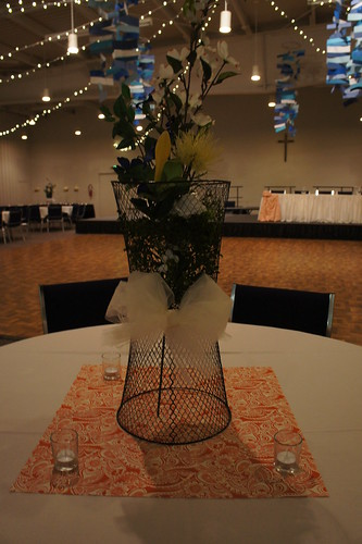 some centerpieces, lights and mobiles