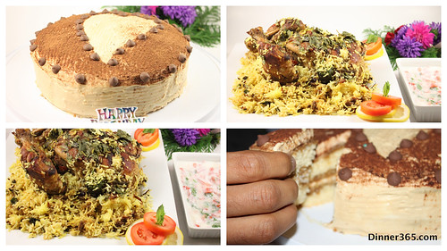 Day 232 - Hubby's B'day specials: Tiramisu cake and My signature Whole Chicken Biryani